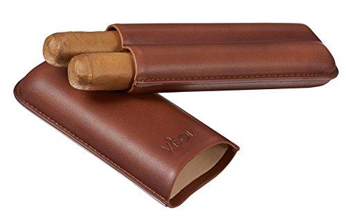 Visol Legend Brown Genuine Leather Cigar Case - Holds 2 Cigars
