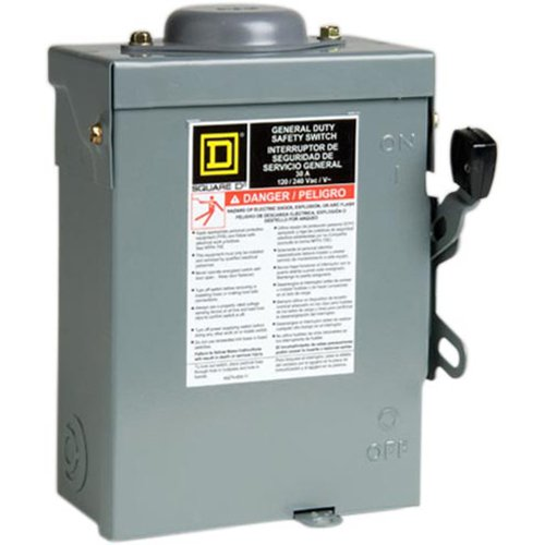 Square D by Schneider Electric D221NRBCP 30-Amp 240-volt Two-Pole Outdoor General Duty Fusible Safety Switch with Neutral