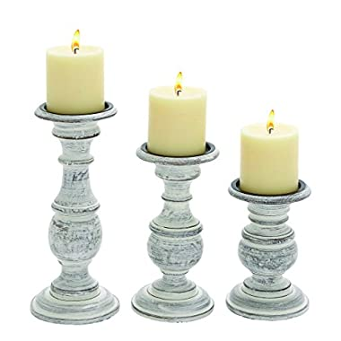 Woodland Imports Short and Sweet Wooden Candle Holder, White Paint Finish, Set of 3