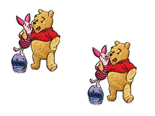 2 pieces Children Iron On Patch Embroidered Applique Motif Fabric Bear Pig 2.6 x 2 inches (6.5 x 5 cm)