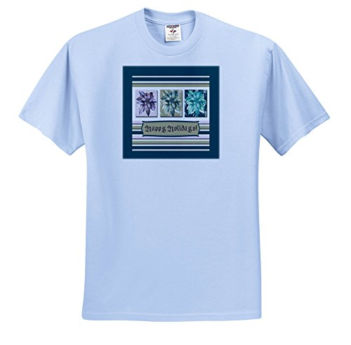 Holiday Lights Poinsettias - 3dRose Beverly Turner Christmas Design - Poinsettias In Green, Lavender, and Lime, Frame, Happy Holidays - T-Shirts - Light Blue Infant Lap-Shoulder Tee (24M) (TS_267986_77)