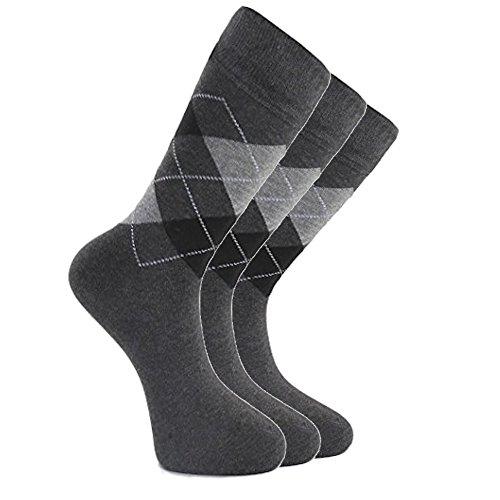 (LAETA Men's Colorful Argyle Fancy Design Fashion Dress Socks Crews Size (Grey (3)