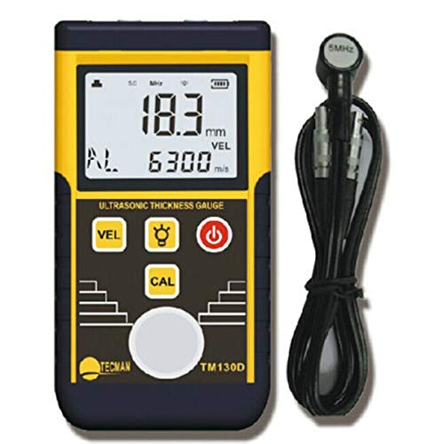 Tester Ultrasonic Thickness (Ultrasonic Thickness Gauge for Steel Plate Copper Plate Glass PVC Pipe Thickness Sound Velocity Measuring Range 1.2~220mm)