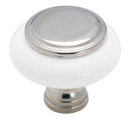 Amerock BP76246-26W White Ceramic Knob with Chrome Center