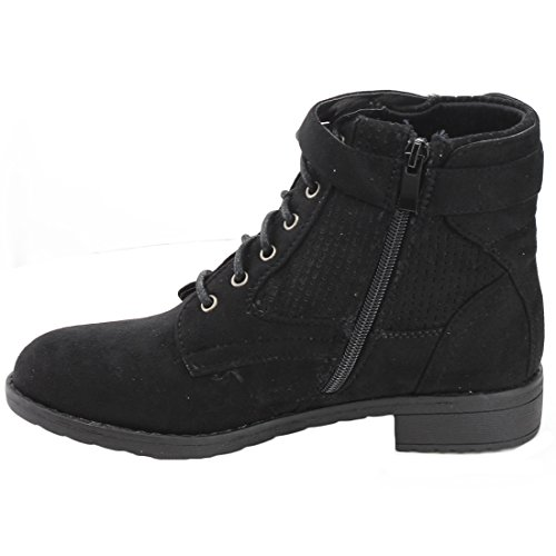 FOREVER FO05 Womens Ankle Strap Block Low Heel Military Combat Booties Black NpjvL3