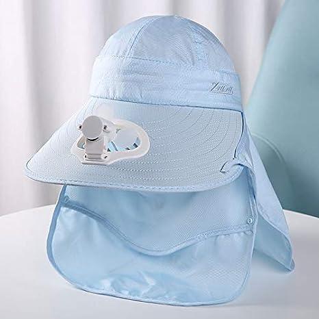 Unisex rápido secado UV Protection Sun sombrero al aire libre cubrir su cara con el ventilador