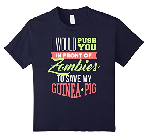 Guinea Pigs In Christmas Costumes (Kids Funny Guinea Pig Animal T-shirt Push You In Front Of Zombies 12 Navy)
