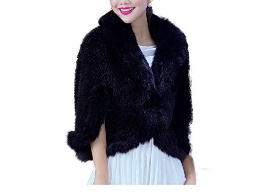 White Knitted Mink Shawl Poncho Cape Black Knit Fur Shawl Wrap Stole Mink Coat (XL, Black) by Lovingbeauty