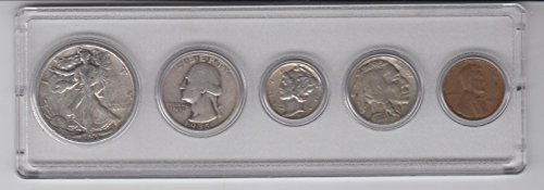 1935 Birth Year Coin Set (5) Coins Half Dollar, Quarter, Dime, Nickel, and Cent -Circulated- Condition All dated 1935 and Displayed in a Plastic Holder Very Good