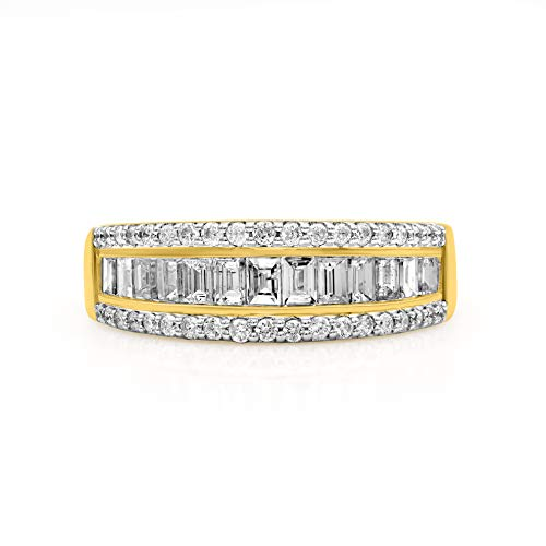 TJD 10K Yellow Gold 1.00 Carat Round-Shape (H-I Color, I2 Clarity) and Baguette-Shape (G-H Color, I1-I2 Clarity) Gorgeous Diamond Band for Women, US Size 7