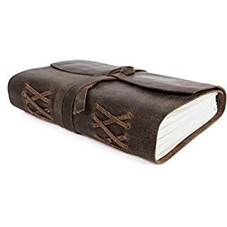 TUZECH Classic Vintage Genuine Handmade Leather Soft Journal Well Crafted Diary with Leather Bound Strip Brown Color