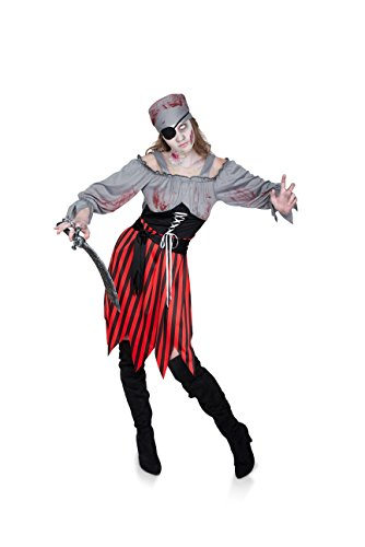 Karnival Women's Zombie Pirate Girl Costume Set - Perfect for Halloween, Costume Party Accessory. Trick or Treating (S)
