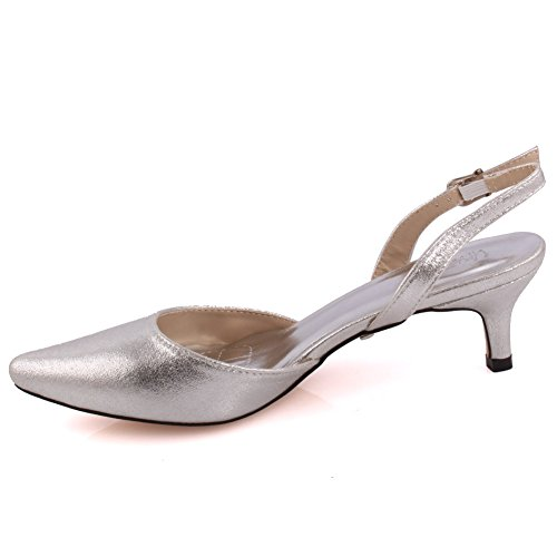Court Prom Grande Chaussures Haut 8 Femmes toe Talons Sandals Unze Talon Wedding 'monica' Evening 3 Get Argent Together Carnaval Pointed Mi Bureau bas bretagne Party Taille nwvxxHUqRA