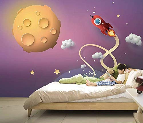 Amazon Com Murwall Nursery Wallpaper Cartoon Space Wall