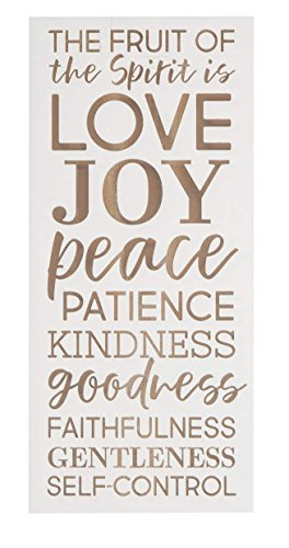 Emily Fruit of The Spirit Love Joy White Decorative Sign Home Wooden Sign Plaque Home Craft Sign for Women Men Housewarming -