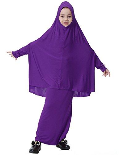 Yuntown Girl Muslim Dress w/Hijab Crewneck Long Sleeve Islamic Maxi Middle East by Yuntown