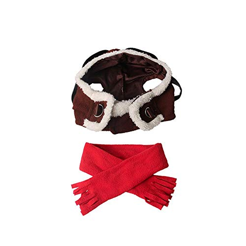 brovoZ Pet Aviator Hat Funny Dog and Scarf Set Ornament Air Force Hat for Pets Halloween Party Christmas parades Shoots Special Events Uniform -