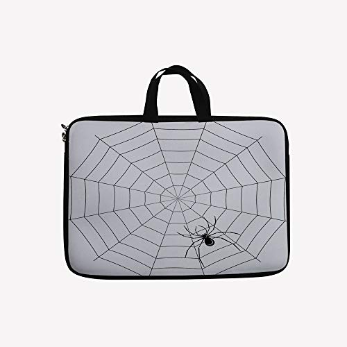 3D Printed Double Zipper Laptop Bag,Thread Crawly Malicious Bug Halloween Character,17 inch Canvas Waterproof Laptop Shoulder Bag Compatible with 17