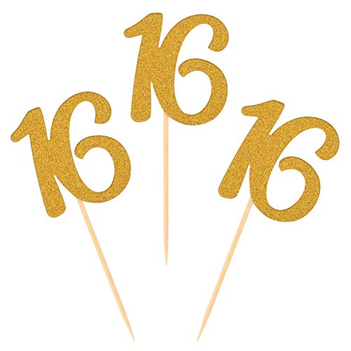 Donoter 50pcs 16th Cupcake Toppers Gold Glitter Number 16 Cake Picks for Birthday Anniversary Party Decoration