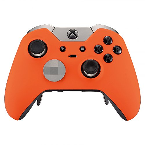 (eXtremeRate Soft Touch Grip Orange Front Housing Shell Faceplate for Xbox One Elite Controller withThumbstick Accent Rings)