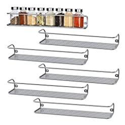 Kitchen NEX 6 Pack Spice Rack Shelf Wall Mounted for Cabinet Door spice racks