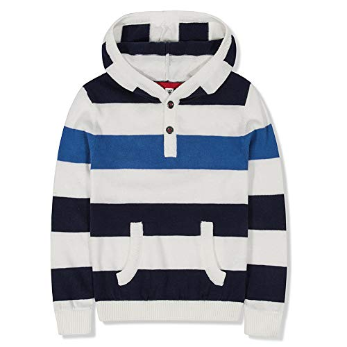 Benito & Benita Boys' Pullover Sweater Crew Neck Cotton Stripe Sweater Casual Style for 2-12Y (11-12Y / 152CM, White/Blue)