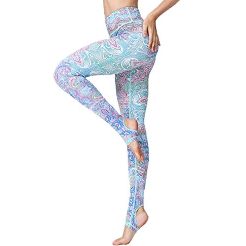 ZISUEX Tummy Control Yoga Pants Floral Legging Workout Printed Stretchy Sport Fitness Riding Running Activewear (Floral, M(Waist:26.7))