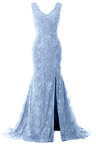 MACloth Women Mermaid Long Prom Dress V Neck Lace Wedding Formal Evening Gown (US22w, Sky ()