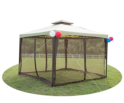 GOJOOASIS Metal Gazebo Outdoor 2-Tier Canopy Party Tent with Mesh Sidewalls 10x10 Beige & Brown (Tier Gazebo 2)