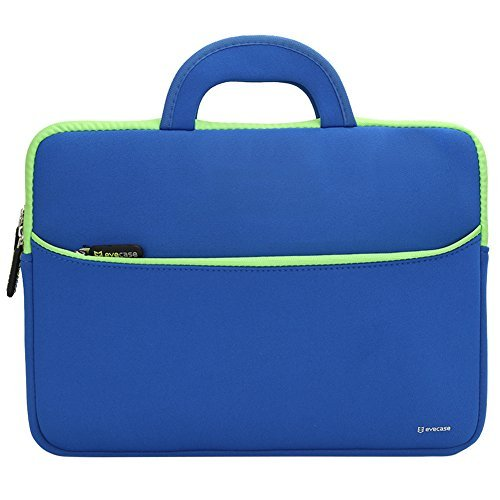Evecase-HP-Stream-14-Sleeve-Bag-Case-Portable-Slim-Neoprene-Travel-Carrying-Sleeve-Case-Bag-w-Dual-Handle-and-Accessory-Pocket-for-HP-Stream-133-14inch-Laptop-–-Blue