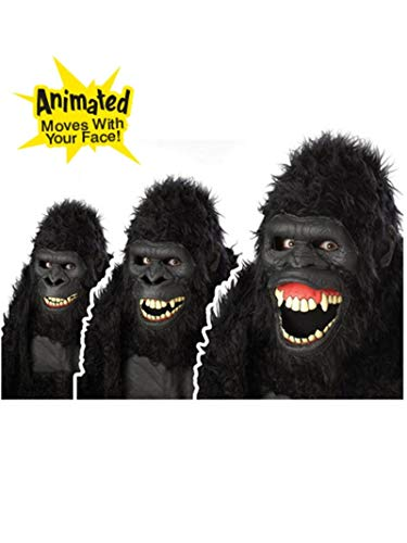 Animotion Halloween Masks (California Costumes Goin Ape Ani-Motion Mask, Black, One)