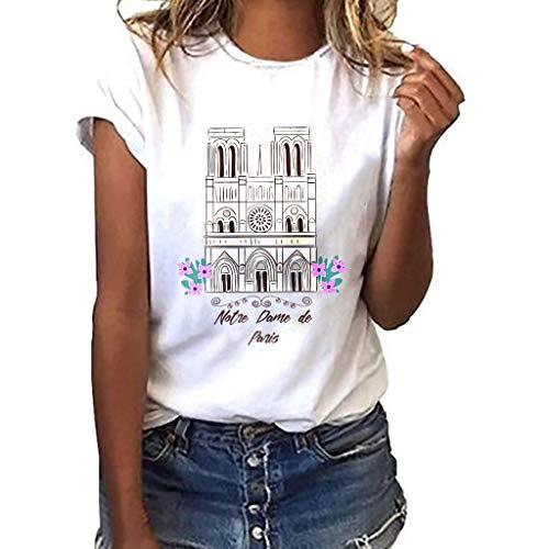 YEZIJIN Women Notre Dame de Paris Print Tees Shirt Short Sleeve T Shirt Blouse Tops Sexy Tops for Women Fashion 2019 White