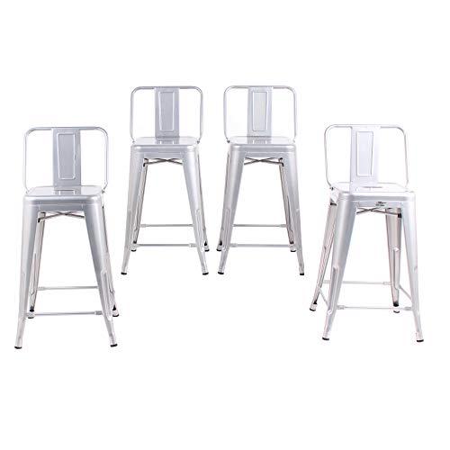 Buschman Set of 4 Grey 24 Inch Counter Height Metal Bar Stools with Medium Back Indoor Outdoor