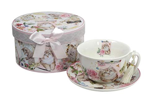 Lightahead Elegant Bone China Cappuccino Coffee Tea Cup and Saucer cat Kitten design 10 oz in attractive gift box (Saucer Cup Tea Christmas A Of And)