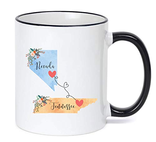 Tennessee Nevada Mug State to State Coffee Cup Gift Two State Mug Best Friend Mom Girlfriend Aunt Grandma Birthday Mother's Day Going Away Present Moving New Job Gifts (Moving Nevada To)