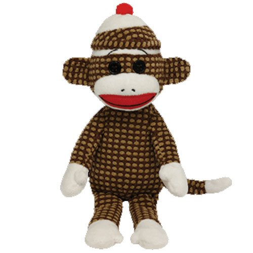 Ty Beanie Babies Sock Monkey Brown Quilted Plush -