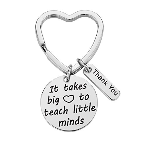 Teacher Appreciation Gift for Women, Teach Love Inspire Heart Teacher Keychain, Jewelry Gift for Teachers, Birthday Gift for Teacher Valentines Gifts (Teach-Little-Minds)