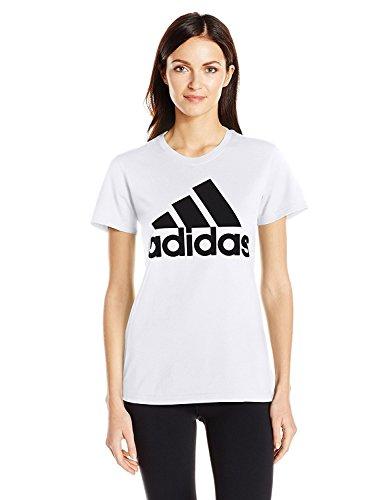 Womens Tee Big Logo (adidas Women's Badge of Sport Logo Tee, White/Black/Logo, Small)