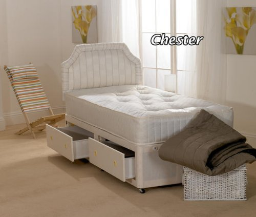 Hf4you Chester Open Spring Divan Bed - 3FT Single - 2 Storage Drawers - No Headboard