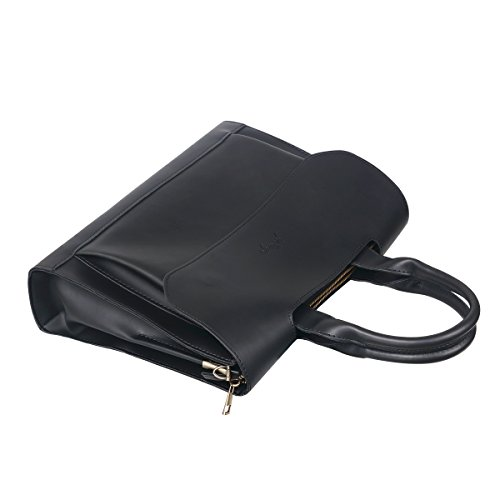 JAKAGO Vintage PU Leather Laptop Bag Retro Cartera Hombre Hombres Messenger Bag Bolsa de hombro para 11 12 13 14 pulgadas portátil y Macbook Air Pro 11/12/13 pulgadas (Negro) Negro