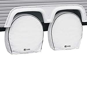 """Classic Accessories OverDrive Deluxe RV & Trailer Wheel Cover, 4-Pack, White, (For 24"""" - 27"""" diameter tires, up to 8.5"""" wide)"""
