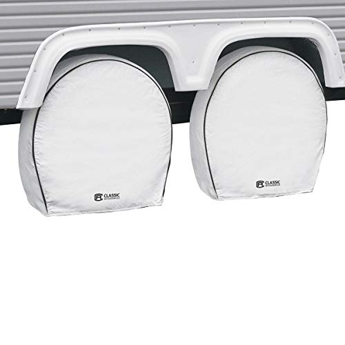 Classic Accessories OverDrive Deluxe RV & Trailer Wheel Cover, 4-Pack, White, (For 33