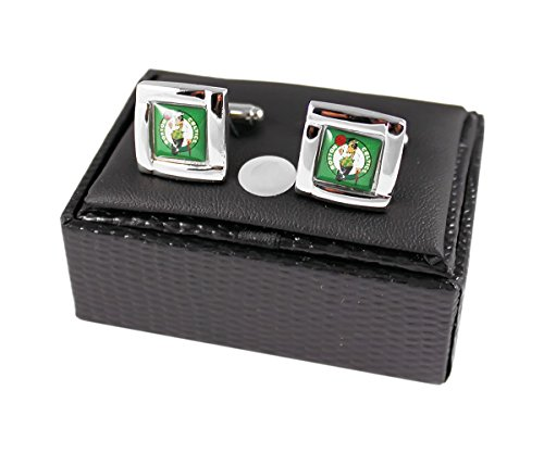 NBA Boston Celtics Square Cufflinks with Square Shape Engraved Logo Design Gift Box -