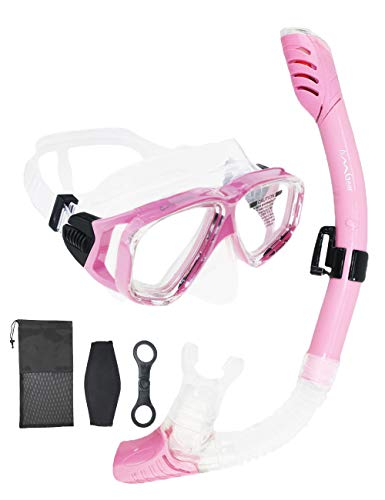 ab6aaff914 Snorkel Set Snorkeling Gear Package Diving Set Premium Silicone Dive Mask  Snorkel Equipment Goggles Anti-