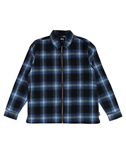Stussy Zip Up Shadow Plaid LS Shirt Men's Blue (Large) - Plaid Shirt Shadow