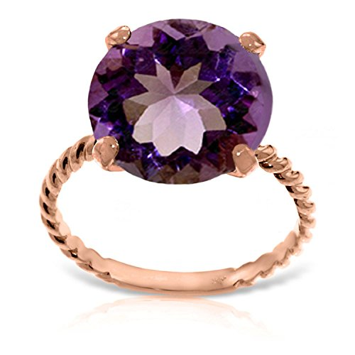 ALARRI 14K Solid Rose Gold Ring w/ Natural 12.0 mm Round Amethyst With Ring Size 10 by ALARRI