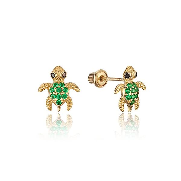 7c2d35f6b 14k Yellow Gold Turtle Cubic Zirconia Children Screwback Baby Girls Stud  Earrings