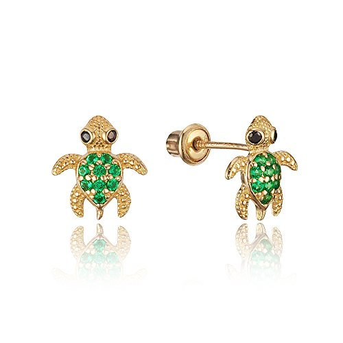 14k Yellow Gold Green Turtle Cubic Zirconia Children Screwback Baby Girls Stud Earrings