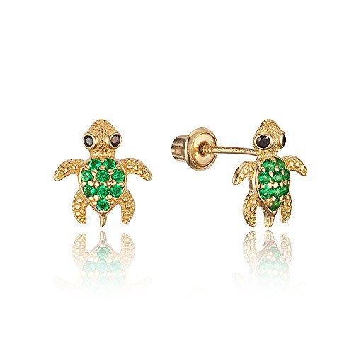 14k Yellow Gold Green Turtle Cubic Zirconia Children Screwback Baby Girls Stud Earrings 14k Yellow Gold Turtle