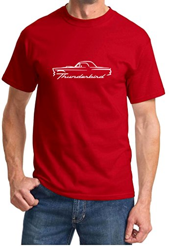 1955 1956 1957 Ford Thunderbird Coupe Classic Outline Design Tshirt 2XL red ()
